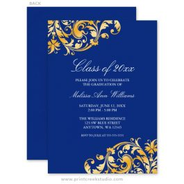 Blue and gold college graduation announcements