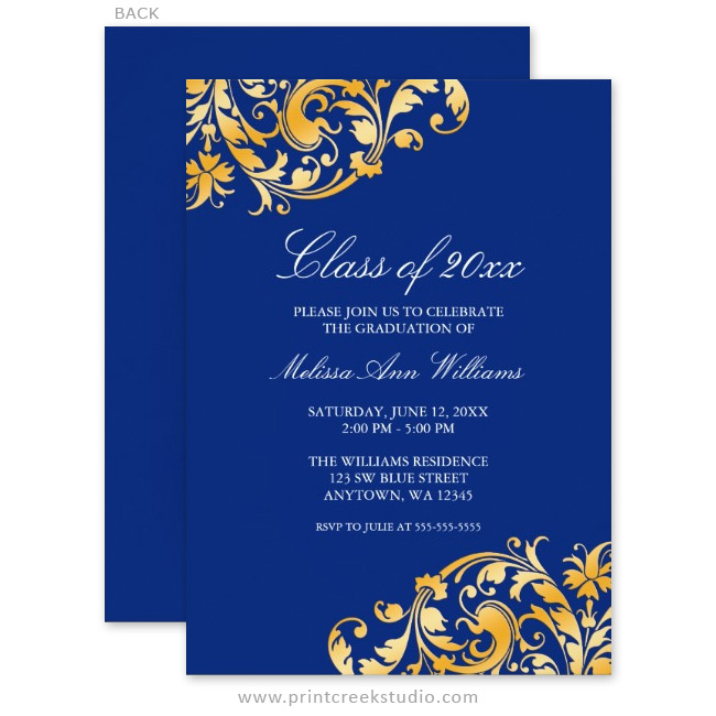 Blue Gold Swirl Graduation Party Announcements