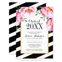 Pink and black graduation announcements