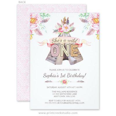 Wild one girl birthday invitations