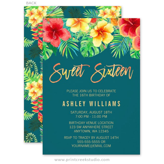 Tropical Watercolor Flowers Sweet 16 Birthday Invitations Print – Flower Party Invitations