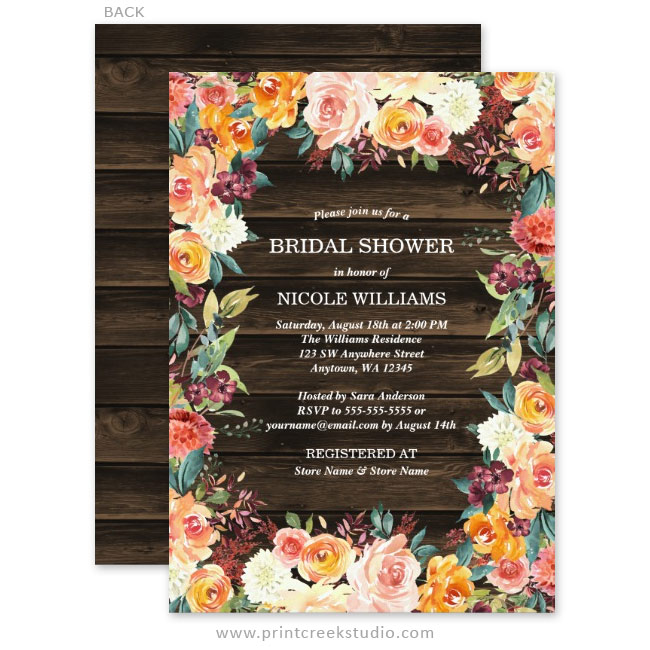 Rustic Fall Bridal Shower Invitations