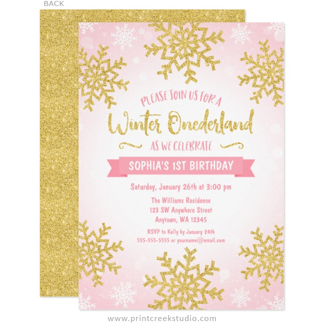 Pink Gold Winter Onederland 1st Birthday Invitations Print Creek