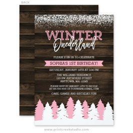 Pink winter onederland 1st birthday invitations