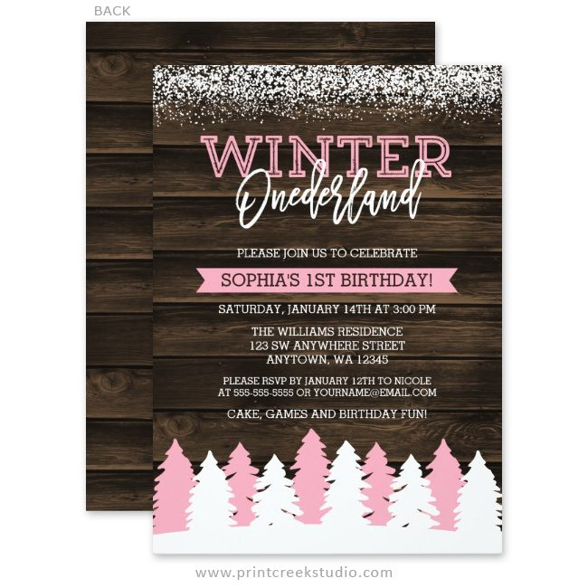 Pink winter onederland 1st birthday invitations