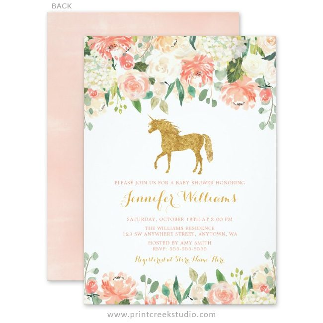 Pink and gold unicorn baby shower invitations