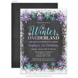 Purple winter onederland 1st birthday invitations
