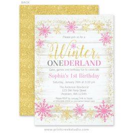 Pink gold winter wonderland 1st birthday invitations