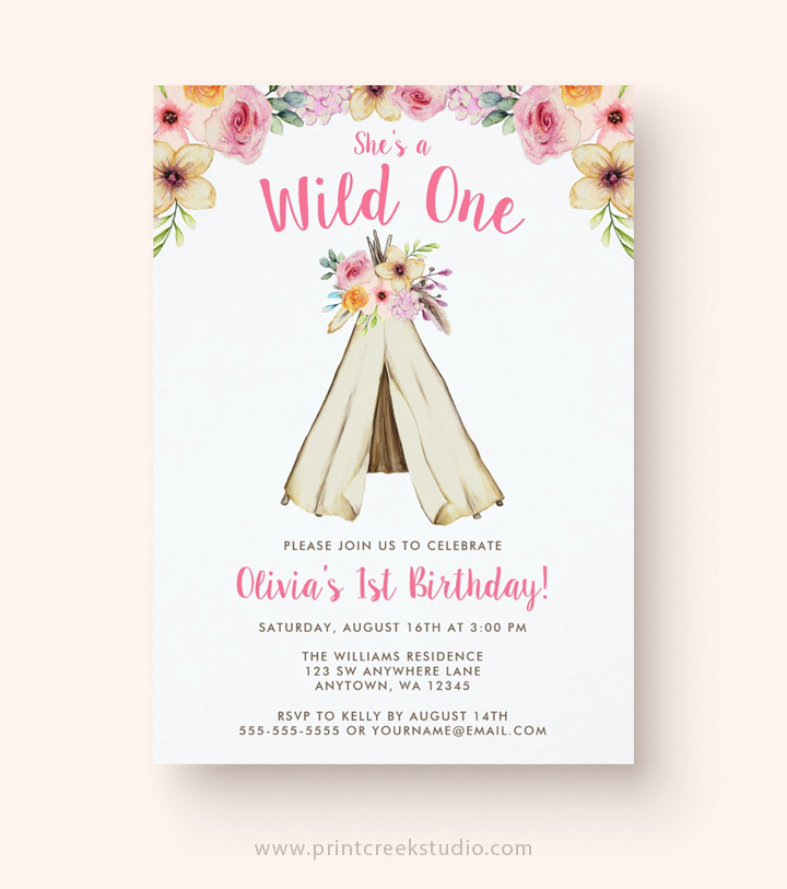 Tribal teepee girl birthday invitations