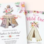 Teepee girl birthday invitations