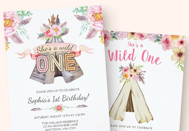 Boho Chic Tribal Teepee Girl Birthday Invitations
