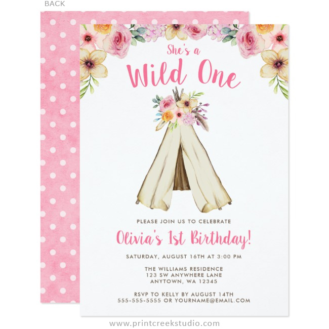 Boho chic 1st birthday invitations