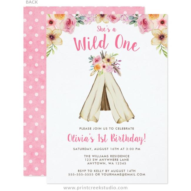 boho floral tribal teepee wild one 1st birthday invitations print