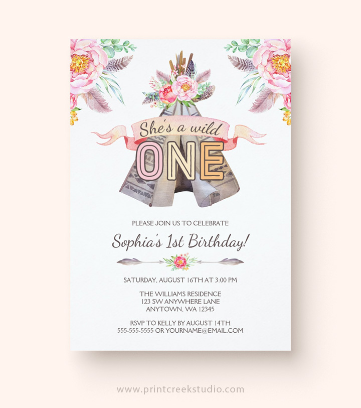 Girl boho chic birthday invitations