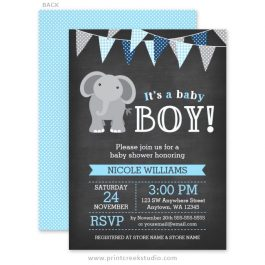 Blue and gray elephant boy baby shower invitations
