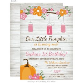 Fall 1st birthday invitations girl