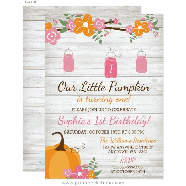 Little pumpkin mason jars fall girl first birthday invitations fall 1st birthday invitations girl filmwisefo