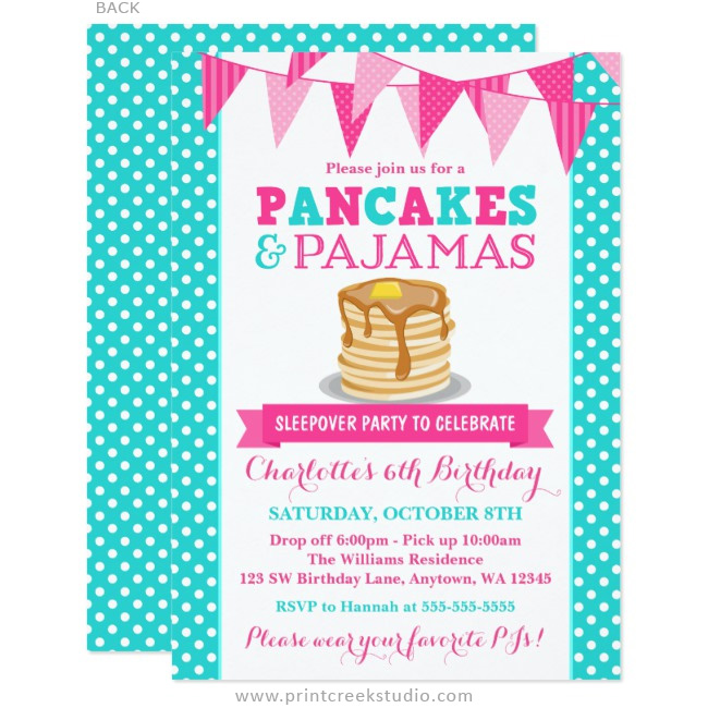 Girl birthday party invitations pancakes and pajamas birthday invitations filmwisefo