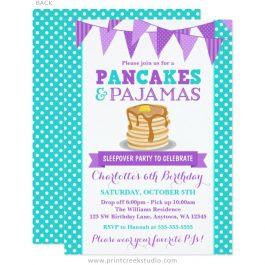 Pancakes and pajamas invitations