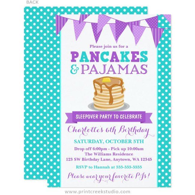 Pancakes and pajamas invitations