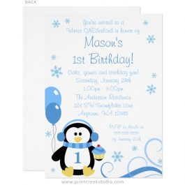 Winter onederland boy birthday invitations