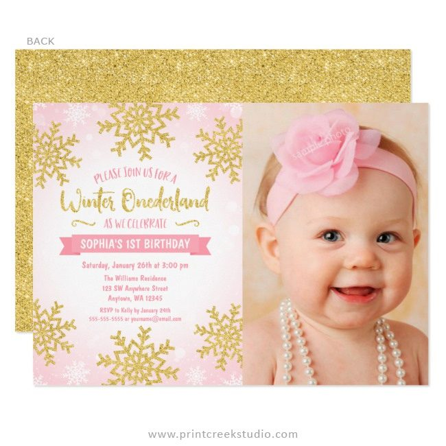 Pink and gold winter 1st birthday invitations