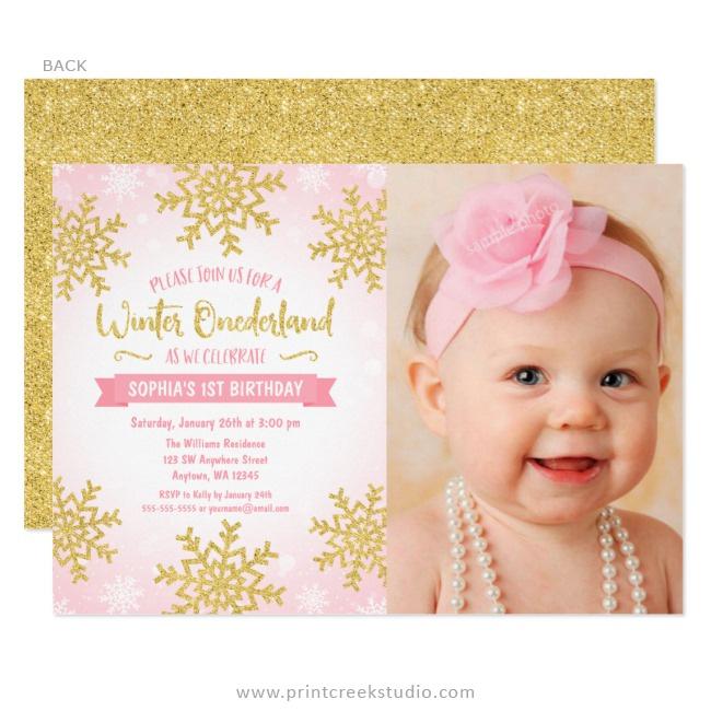 Pink Gold Winter Onederland 1st