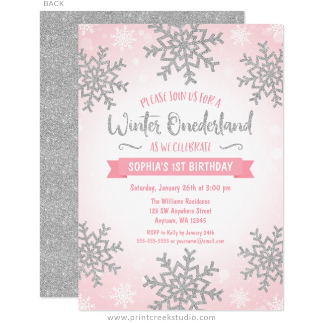pink silver winter onederland 1st birthday invitations print creek