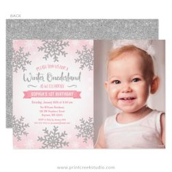 pink silver winter onederland 1st birthday photo invitations - Winter Onederland Party Invitations