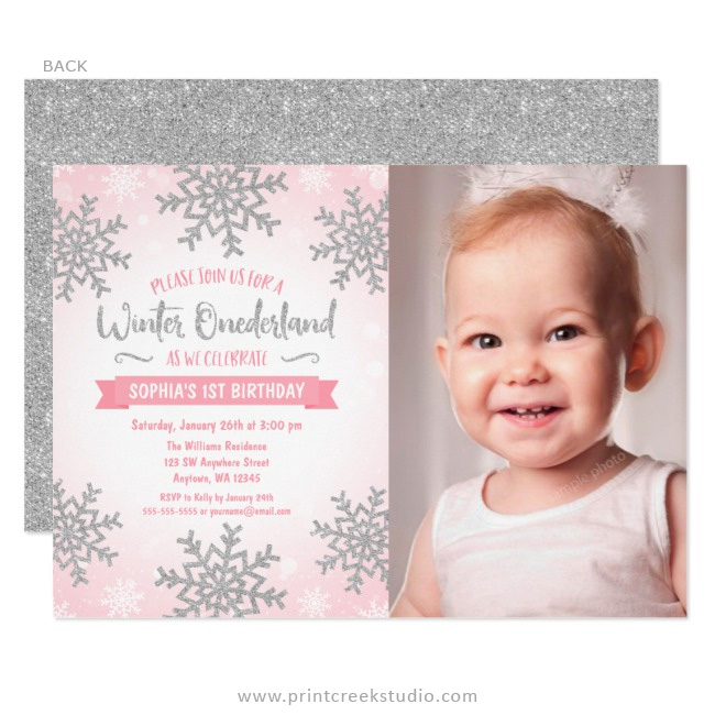 pink silver winter onederland 1st birthday photo invitations print