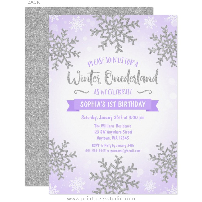 Purple and silver winter 1st birthday invitations