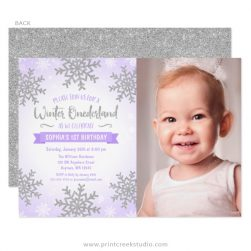 Girl Birthday Party Invitations - 1st birthday invitations girl purple