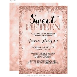 Rose gold sweet 15 invitations