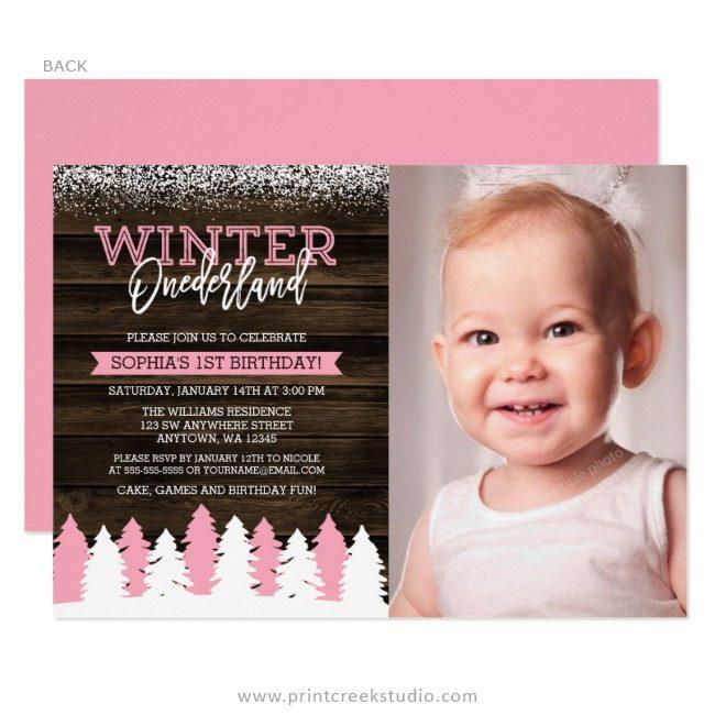 Rustic winter 1st birthday invitations girl