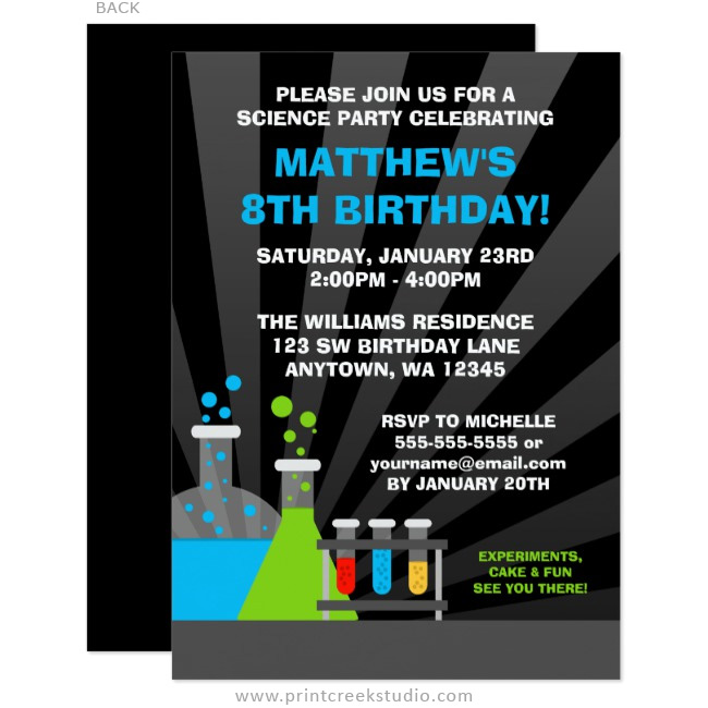 Boy science birthday party invitations
