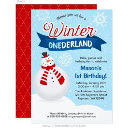 Winter 1st birthday boy invitations