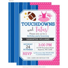 Touchdowns and Tutus Birthday Invitation