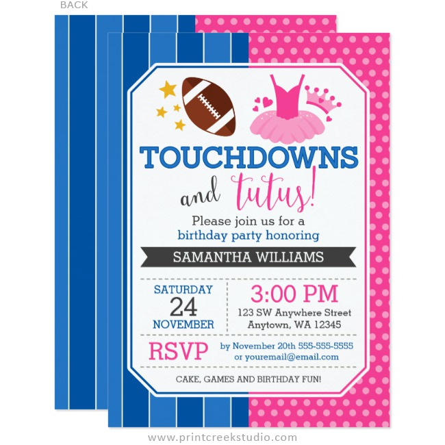 Touchdowns and tutus pink blue birthday invitations print creek touchdowns and tutus birthday invitation filmwisefo