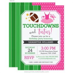 Touchdowns and Tutus Invitations