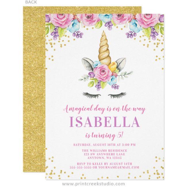 Unicorn face birthday party invitations