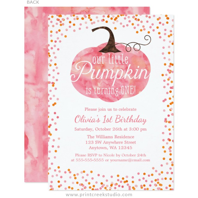 watercolor pumpkin confetti girl first birthday invitations print