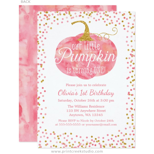 Watercolor Pumpkin Glitter Girl First Birthday Invitations Print