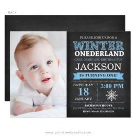 Winter onederland boy birthday photo invitations