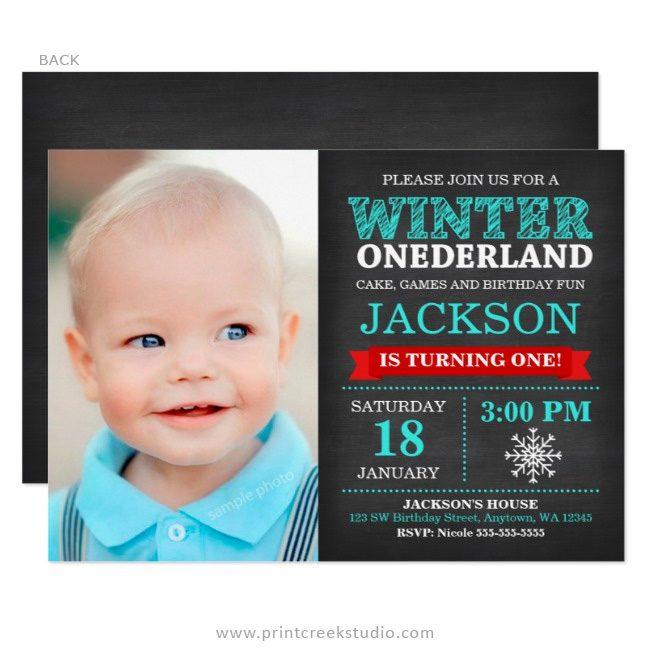 Winter onederland boy photo birthday invitations