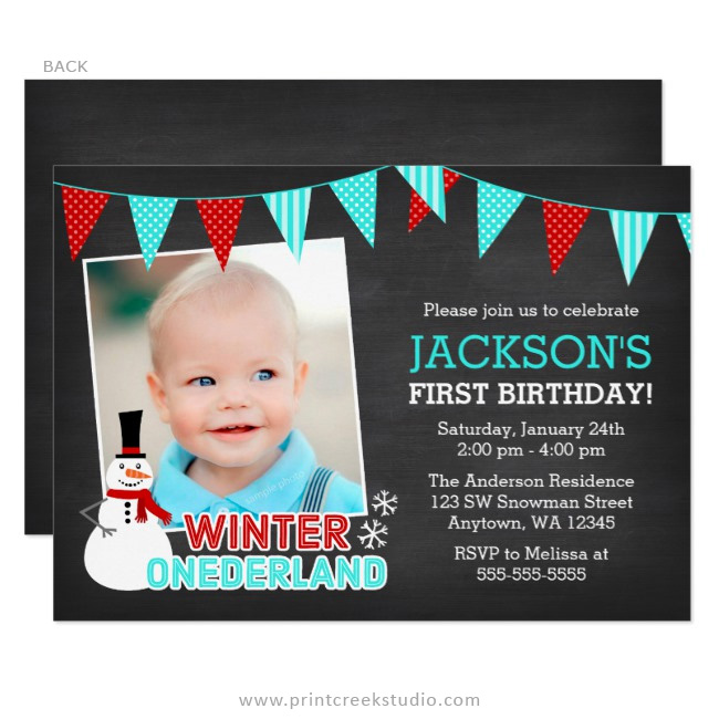 Winter onederland 1st birthday boy photo invitations