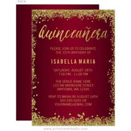 Burgundy Gold Glitter Quinceanera 15th Birthday Invitations