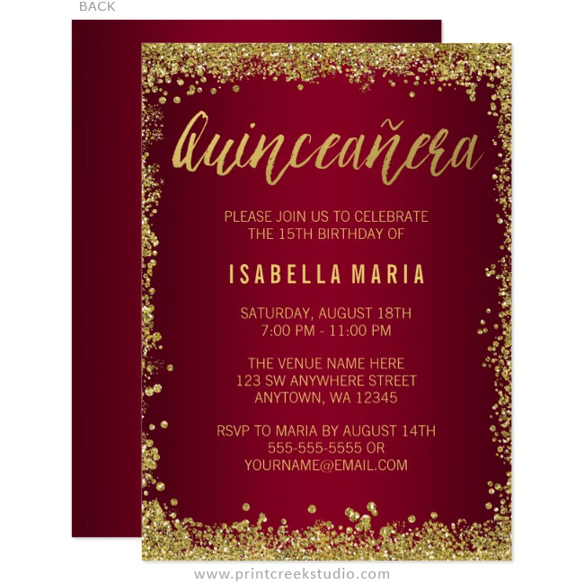 Burgundy Gold Glitter Quinceanera 15th Birthday Invitations Print