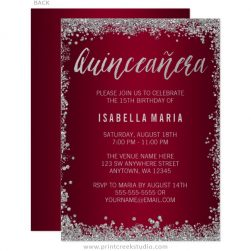 Rose Gold Faux Glitter Lights Sweet 15 Quinceanera Invitations