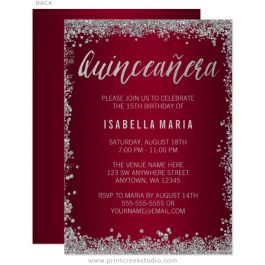 Burgundy and Silver Quinceanera Invitations