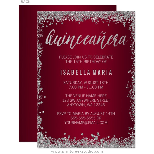 burgundy silver glitter quinceanera 15th birthday invitations